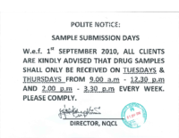 Notice – Sample Submission Days